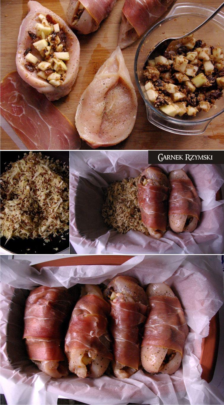 1_ Kieszenie z kurczaka nadziewane gruszką i risotto pietruszkowe