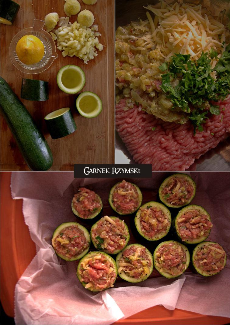1_ Supki z cukini nadziewane mięsem z sosem pomidorowym