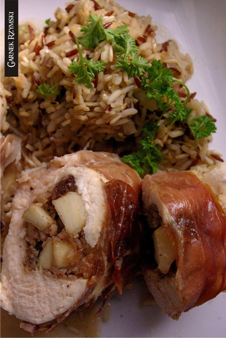 2_ Kieszenie z kurczaka nadziewane gruszką i risotto pietruszkowe