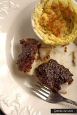 Dorsz zapiekany z suszonymi śliwkami i sufleciki ziemniaczano – serowe (bez glutenu)