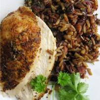 Kurczak nadziewany ryżem, boczkiem i warzywami